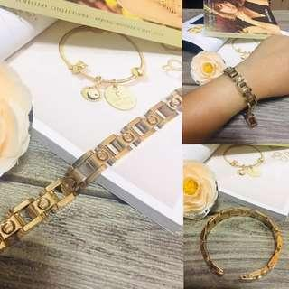 Authentic Italy Gold 10K Saudi Gold Cartier Flat Gold Bracelet Bangle Stainless Steel Bangkok Gold Bracelet Italy Jewelries Women's Collection