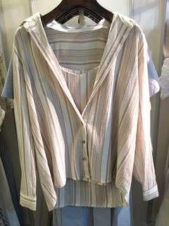 Cavn 奶茶直間條襯衣set 外套連背心