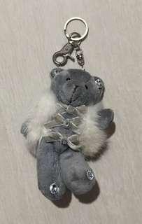 Teddy bear grey- keychain