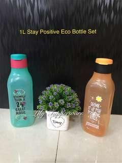 Tupperware 1L Stay Positive Eco Bottle Set ( Orange + Green )