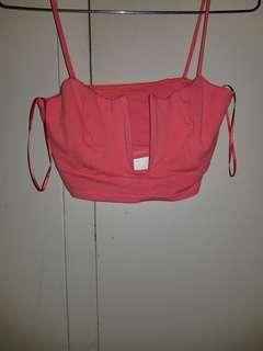 Pink peep hole cropped top
