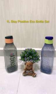 Tupperware 1L Stay Positive Eco Bottle Set ( Black+Dark Blue )