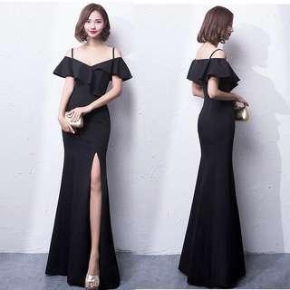 🚚 Off Shoulder Black Prom Dress