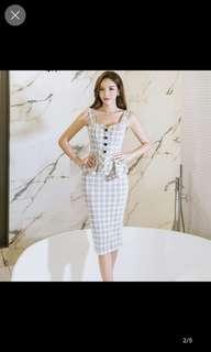 Checkered strap one piece long dress