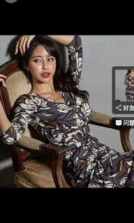 Dark brown floral print dress