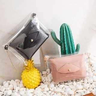 Rm18🐾Korea Latest Fashion Transparent Sling Bag