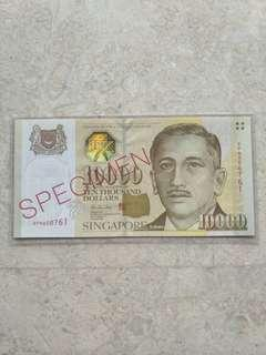 SINGAPORE $10000 PORTRAIT SPECIMEN BANKNOTE RELATIVELY LOW S/N SPN000761 UNC