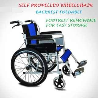 NEW SELF-PROPEL, FOLDABLE BACK REST, REMOVABLE FOOT REST WHEEL CHAIR
