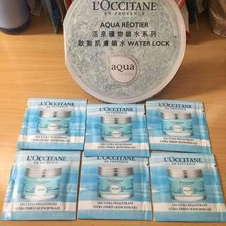 Loccitane 活泉礦物鎖水啫喱 Aqua Reotier Ultra Thirst Quenching Gel  1.5ml x 6包 試用裝 Water Lock Sample Samples Travel Size 旅行裝 體驗裝 啟動肌膚鎖水