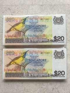 2 STACKS 200 PCS SINGAPORE $20 BIRD A/67 171201-400 RUN UNC