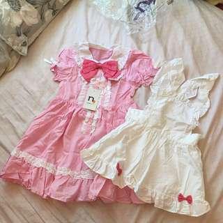 🚚 全新日本nissen女童粉色蝴蝶結女僕風洋裝 兩件套
