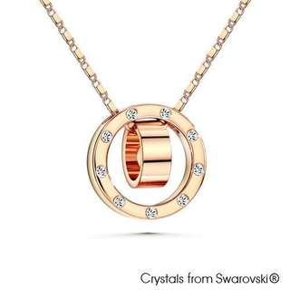 Rose gold fashion necklace made with Swarovski Crystals