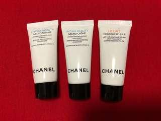 Chanel Samples Le Lait Cleansing milk to oil, hydra beauty creme, serum 卸妝 保濕面霜 精華 試用 5ml