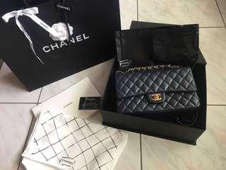 Chanel 經典 coco 25 深藍色 限量色 9.9成新 淡金釦