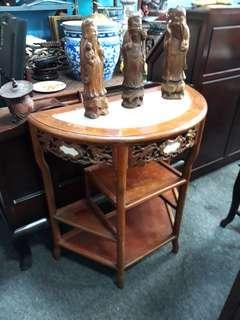 Rosewood half moon table.