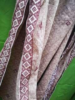②米18長純印度莎麗披肩套頭 腰果圖案 卡其色 手工繡花