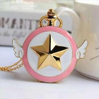 Lovely Pink Quartz Anime Star Wings Magic Pocket Watch