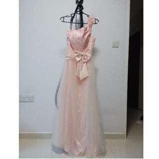 Rose petal pink evening dress