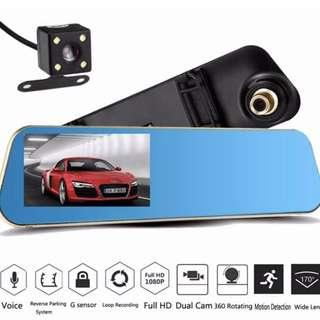 New Premium Car Mirror Front & Rear Reverse Camera - Complete Set, Ready Stock