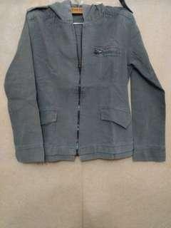 Jaket Bahan Jeans Abu2 Kupluk