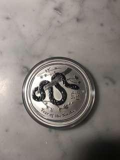 2013 year of lunar snake Perth mint 2 ounces silver coin