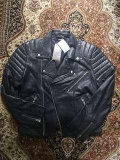 H&m trend genuine leather bike jacket with shoulder pad