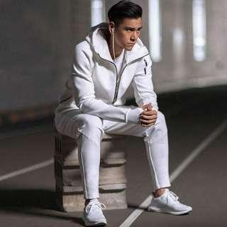 All White Gym Jacket Joggers Set