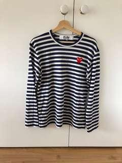 Authentic CDG long sleeve striped tee in navy