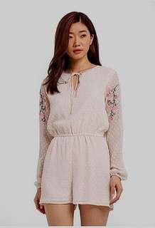 🆕 Zalora Dobby Embroidered Playsuit
