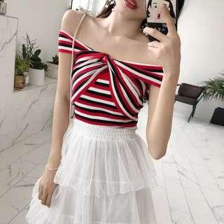 [READY STOCK] Striped Off Shoulder Top