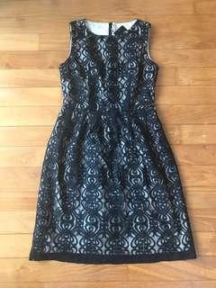 BNWT Elegant dainty black lace dress with nude underlay XS