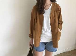 韓國品牌 薄身 啡色麻質外套 Korea Linen Camel Jacket