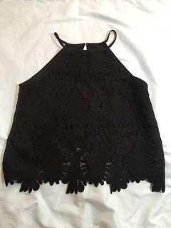 Black lace halter top sleeveless blous