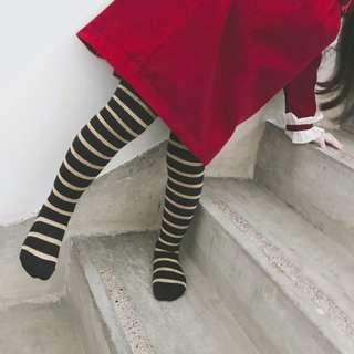 🚚 ✔️STOCK - KOREAN STYLE GOLD BLACK STRIPE HIGH SOCKS NEWBORN TODDLER BABY GIRLS BOTTOM TIGHTS LEGGING PANTS