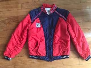 Vintage 80s PUMA Sports Jock Red n White Puffy Jacket XS-S