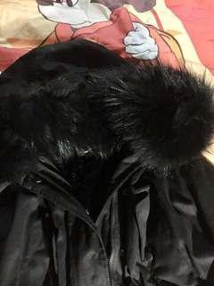 韓版狐狸大毛領加厚收腰大衣