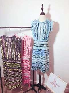 Blue knit dress
