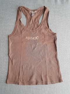Mango Brown Sleeveless Top