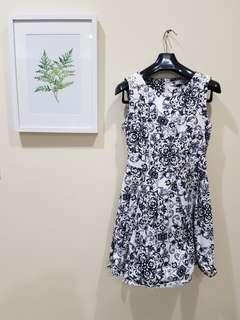 White/ navy blue print fit and flare mini dress from TEMT