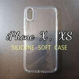 iPhone XS , X Soft Silicone Transparent Cover Case