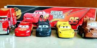 Lightning McQueen,Jackson Storm, Mack and Mater Truck and Cruz Ramirez SUPER TRUCK SET