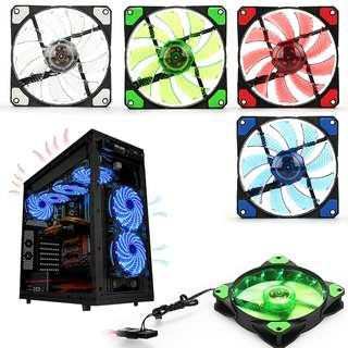 15 LED Light Neon Quite Clear Cooler 120mm PC CPU Computer Case Cooling Fan