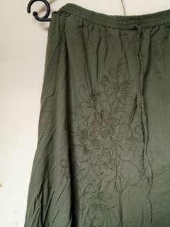 #YEARENDSALE - Embroidery Skirt [Green Army]