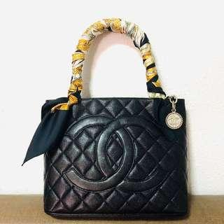 Authentic Chanel Caviar Medallion Tote with Silver Hardware
