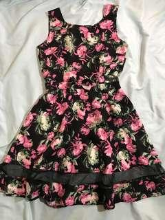 Plains and Prints Inspired black and pink floral dress with mesh