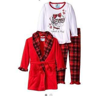 🚚 BN Bunz Kids Toddler Need A Pug Plaid Sleep Robe 3 Piece Pyjamas Set! For 2 year olds!