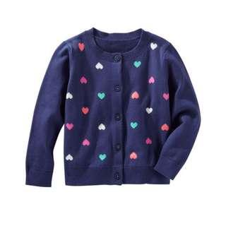 🚚 BN Oshkosh Bgosh Toddler Girl Hearts Allover Cardigan Sweater! For 2 year olds!