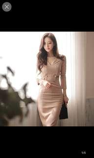 Demure light brown office dress