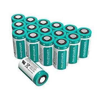 CR123A Lithium Batteries RAVPower 3V Lithium Battery Non-Rechargeable, 16-Pack, 1500mAh Each/4.5Wh, 10 Years of Shelf Life for Arlo Cameras, Polaroid, Flashlight, Microphones and More (LightSeaGreen