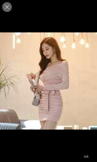 Pink off shoulder bodycon dress with ribbon tie